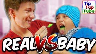 REAL FOOD vs BABY FOOD CHALLENGE - TipTapTube