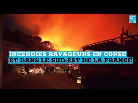 France : les images des incendies ravageurs en Corse et dans le sud-est