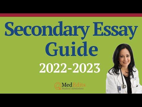 Medical School Secondary Essay Webinar 2017-2018