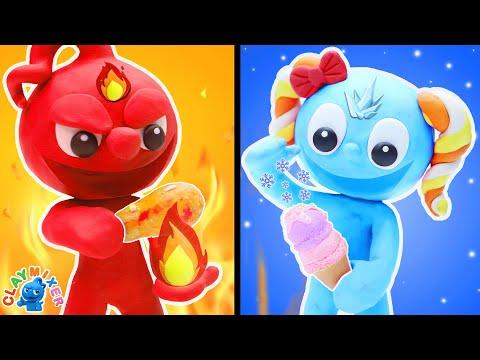 Download Clay Mixer Espanõl   DESAFÍO CALIENTE vs FRÍO   Situaciones divertidas con Boy on Fire y Ice Girl