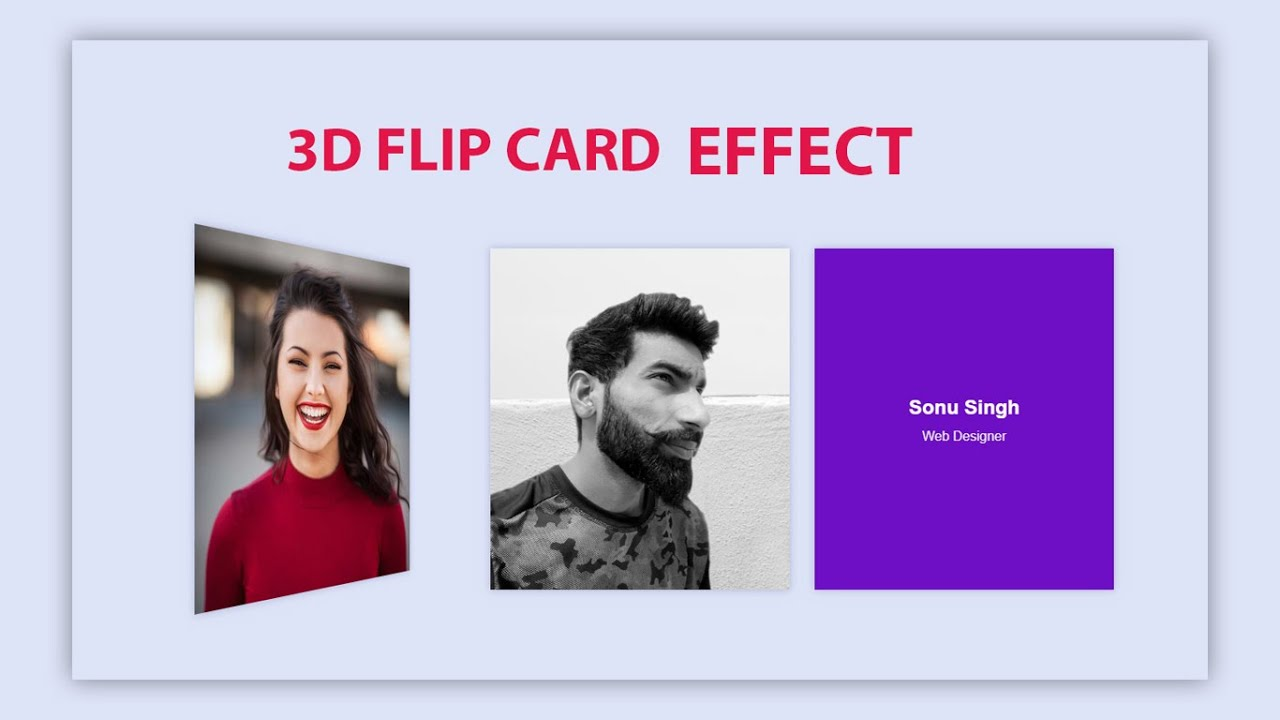 Responsive 3D flip card hover effect | HTML & CSS