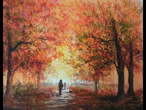 Осень2-Аллея в Парке Губкой. Акварель. Autumn. Alley In The Park.Sponge. Watercolour.