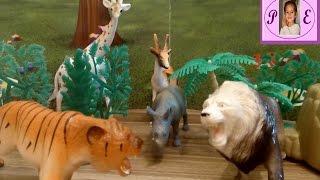 Видео для детей.Играем животными. Забавная игра.Антилопа, жираф, слон, лев, тигр, носорог,кенгуру..