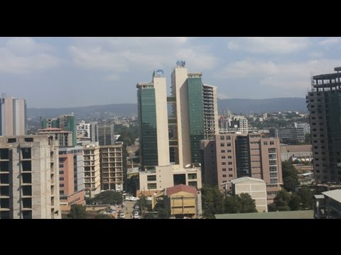 Addis Ababa's skyline from the city's elevated metro, LRT