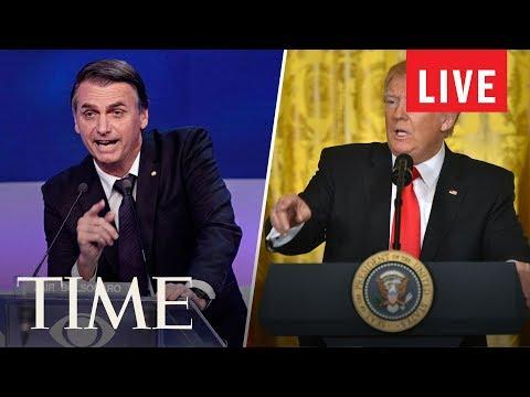 President Trump & Brazilian President Bolsonaro Hold A Joint Press Conference | LIVE | TIME