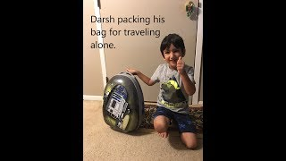 Darsh packing his bag for traveling. Kid funny videos   Drama