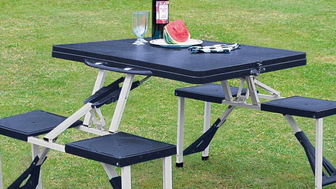folding picnic table and chair set designs youtube. Black Bedroom Furniture Sets. Home Design Ideas