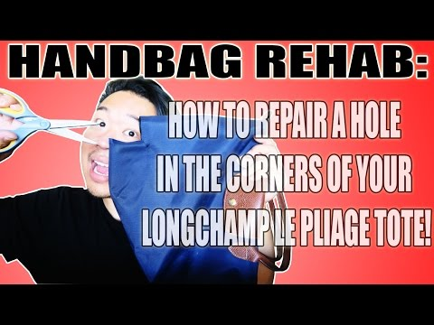 HANDBAG REHAB FT. $4 LONGCHAMP! HOW TO REPAIR A HOLE IN THE CORNERS OF YOUR LONGCHAMP LE PLIAGE!