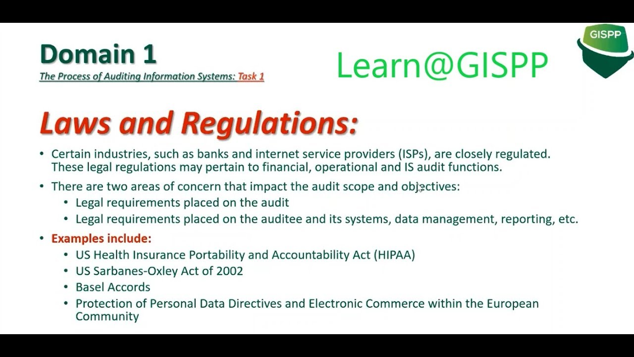 Download CISA Domain 1 : Process of Auditing Information Systems (Part 1) - By GISPP Pakistan