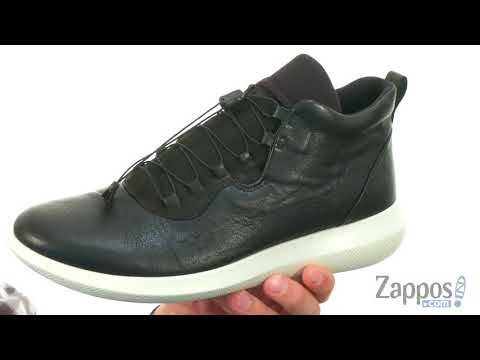 Browse Mens Ecco Scinapse High Top Sneaker Black Leather