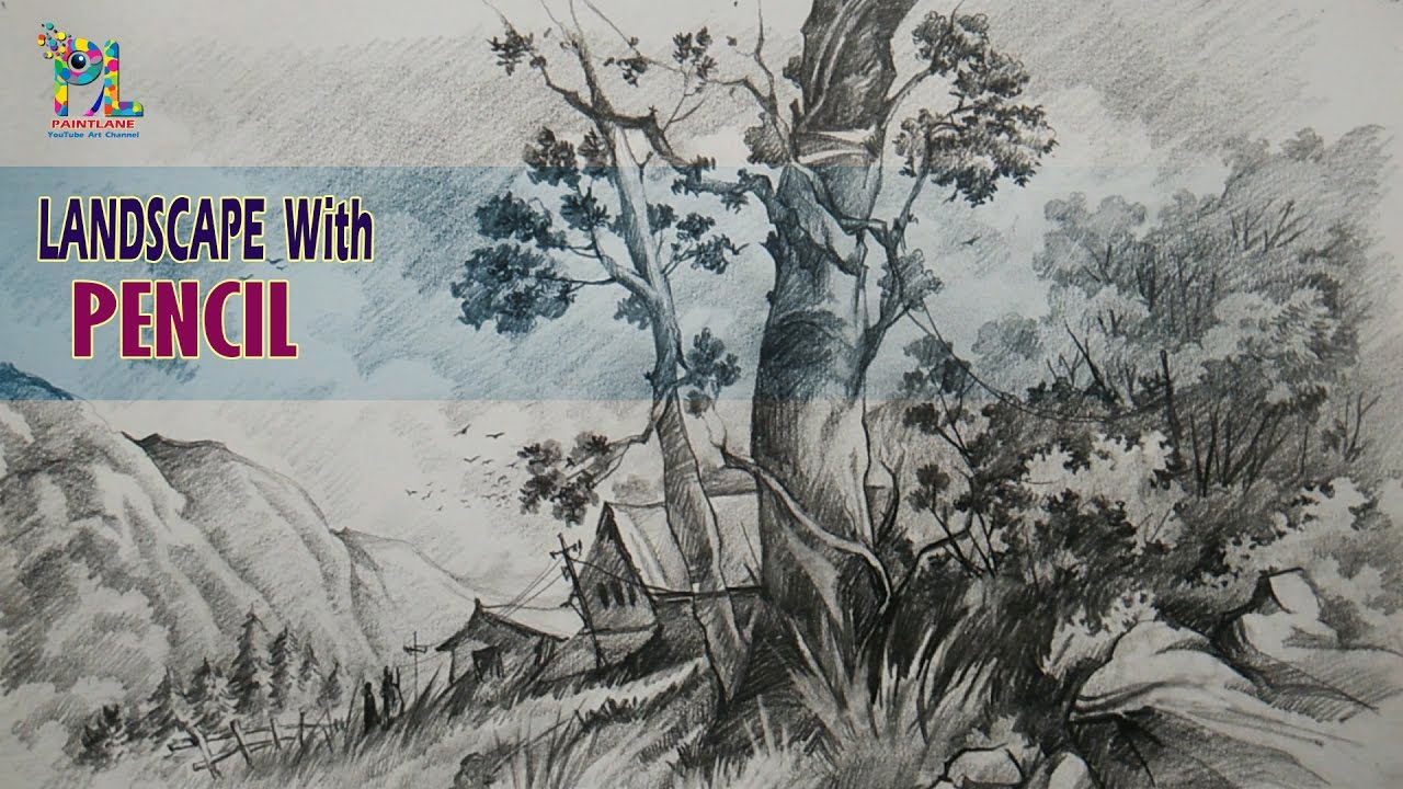 Simple landscape sketching and shading with pencil pencil drawing pencil art