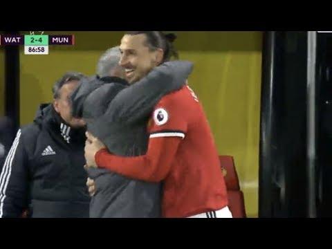 Jose Mourinho hugs Zlatan Ibrahimovic as Jesse Lingard teaches Romelu Lukaku how to finish