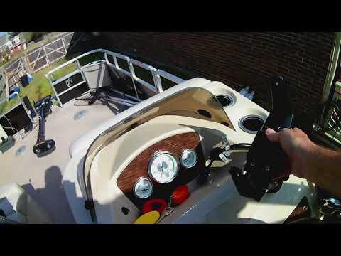 Cypress Cay fishing pontoon and Minn Kota trolling motor and US2 transducer setup to Hook 4