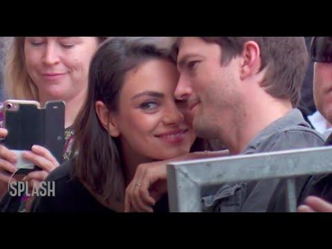 Mila Kunis and Ashton Kutcher cute moment