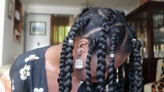 jumbo box braids on 4c natural hair rubber band technique