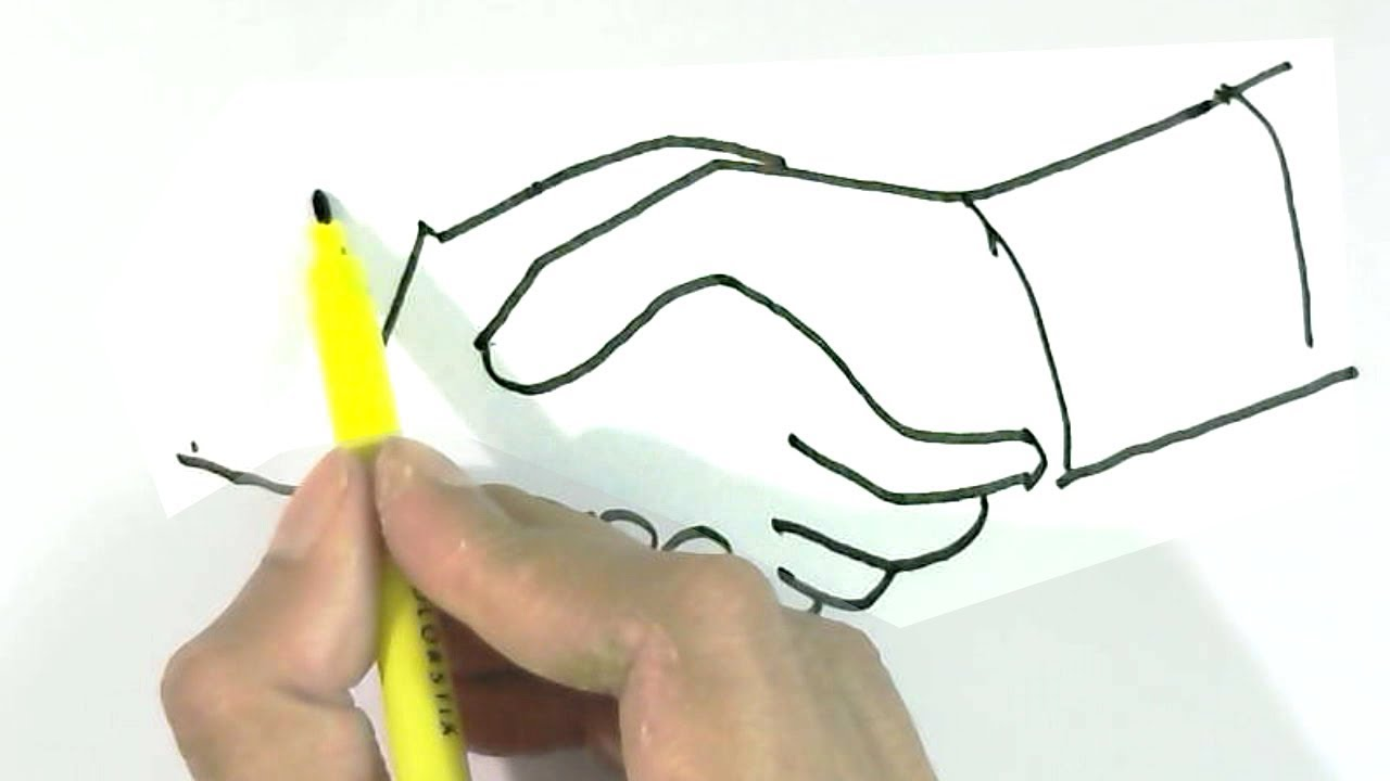 How To Draw Handshake In Easy Steps For Children Kids Beginners