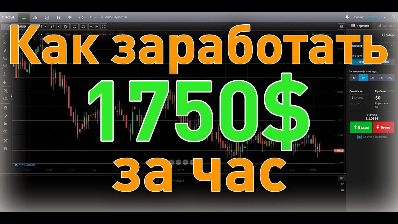 Как заработать 1750$ за 1 час на бинарных опционах | варианты торговли на бинарных опционах