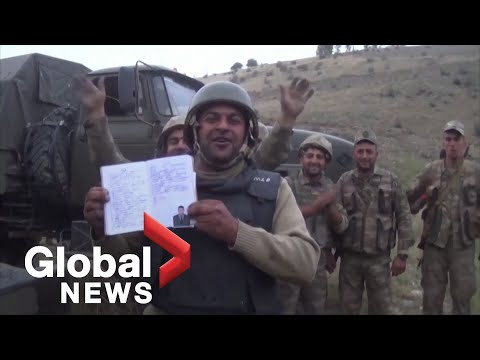 Nagorno-Karabakh Conflict: Azerbaijan Troops Show Off Alleged Destroyed Armenian Military Hardware