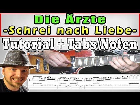 ★Ärzte SCHREI NACH LIEBE | Guitar Tutorial | Rhythmus + Solo/Lead + TABS CHORDS