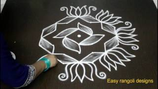 how to draw beautiful flower rangoli designs with dots | kolam designs with dots | muggulu designs