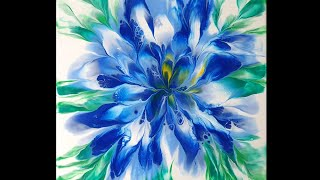 (145) Dip technique _ Beautiful blue flower _ Two canvases _ No silicone _ Designer Gemma77