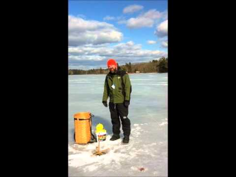 Ice fishing on damariscotta lake february 2012 youtube for Ice fishing youtube