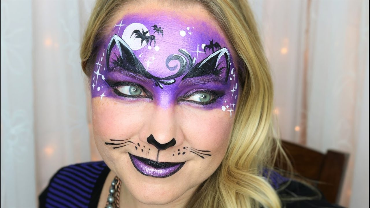 midnight kitty halloween mask face painting and makeup - youtube