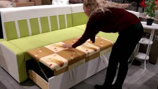 видео Кушетка на кухню: узкий диван со спальным местом