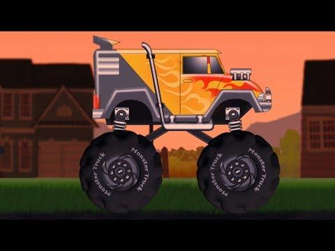 怪物卡车游戏| 视频游戏为孩子| 汽车卡通| 运输婴儿 | Stunts And Adventure | Gaming Video For Kids | Monster Truck Gameplay