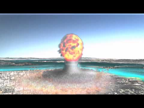 Simulated 500kt airburst thermonuclear explosion over San Francisco