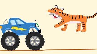 БИБИКА - Африканские животные - Тигр, Антилопа, Обезьяна, Слон - Развивающий мультик про машинки