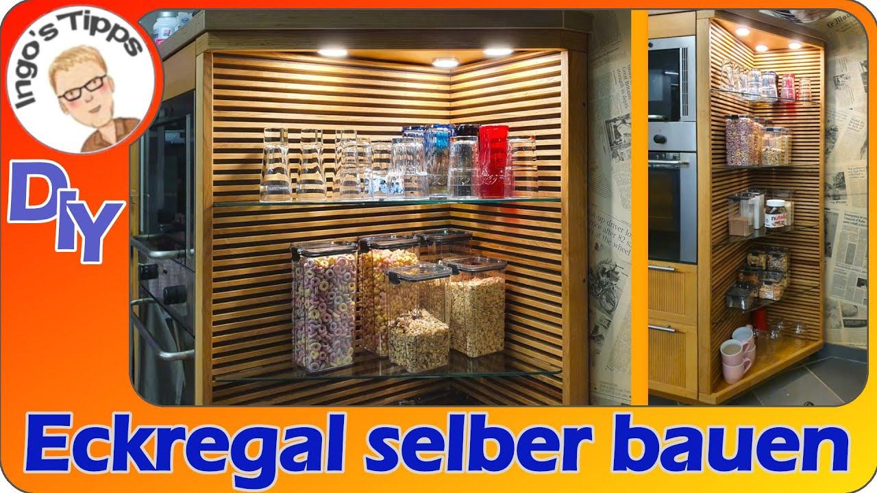 Eiche Holzleisten Regal selber bauen IKEA Küchenschrank umbauen Eckregal anpassen Küche | IngosTipps