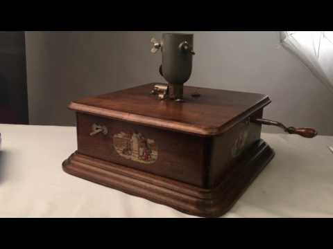 antique Christmas tree stand music box