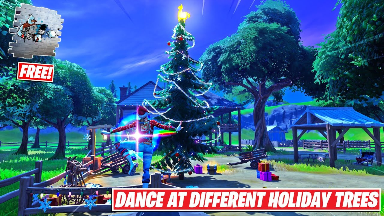 Fortnite Christmas Tree Chapter 2 Dance At Different Holiday Trees All Locations Fortnite Operation Snowdown Quest Chapter 2 Season 5 Youtube