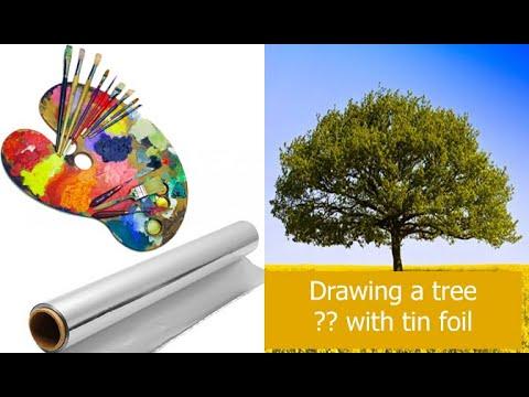 drawing-a-tree-with-tin-foil-??-...-رسم-شجرة-بورق-قصدير-؟؟