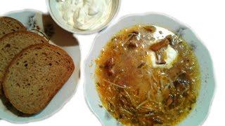 Домашний Суп Лапша с Грибами