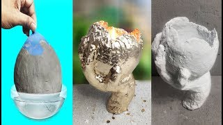 How To Make  Cement Pot With Gloves | Cement Craft Ideas | Amazing Ideas With Cement