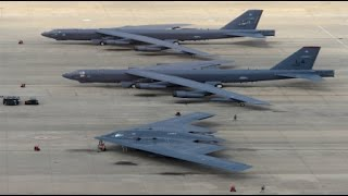 RAW  B1 B52 B2  Nuclear Bombers Fly Over