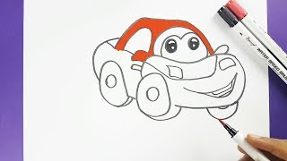 How to Draw a Cartoon Car Easily Step by Step for Kids - Cartoon Car Drawing with Smile Face