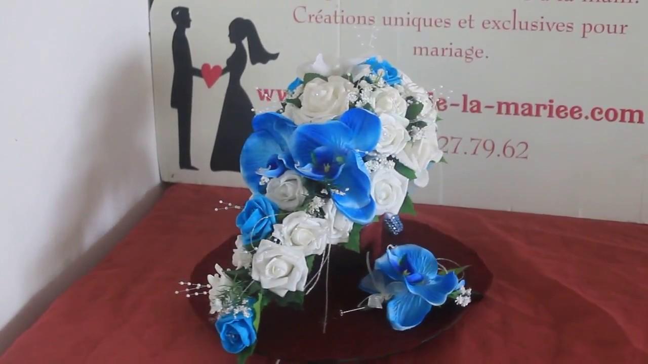 Beau design gamme complète d'articles inégale en performance Bouquet de mariage Tombant thème Roses, Orchidées Blanc et Bleu