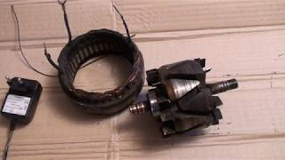 Проверка обмотки статора и ротора генератора ВАЗ на КЗ и обрыв лампочкой.