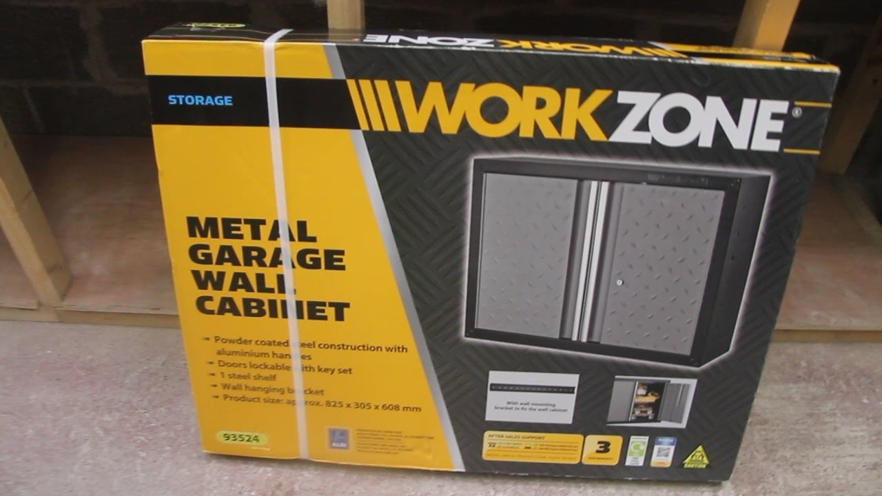 Metal Wall Cabinet workzone metal garage wall cabinet - aldi - quick review - youtube