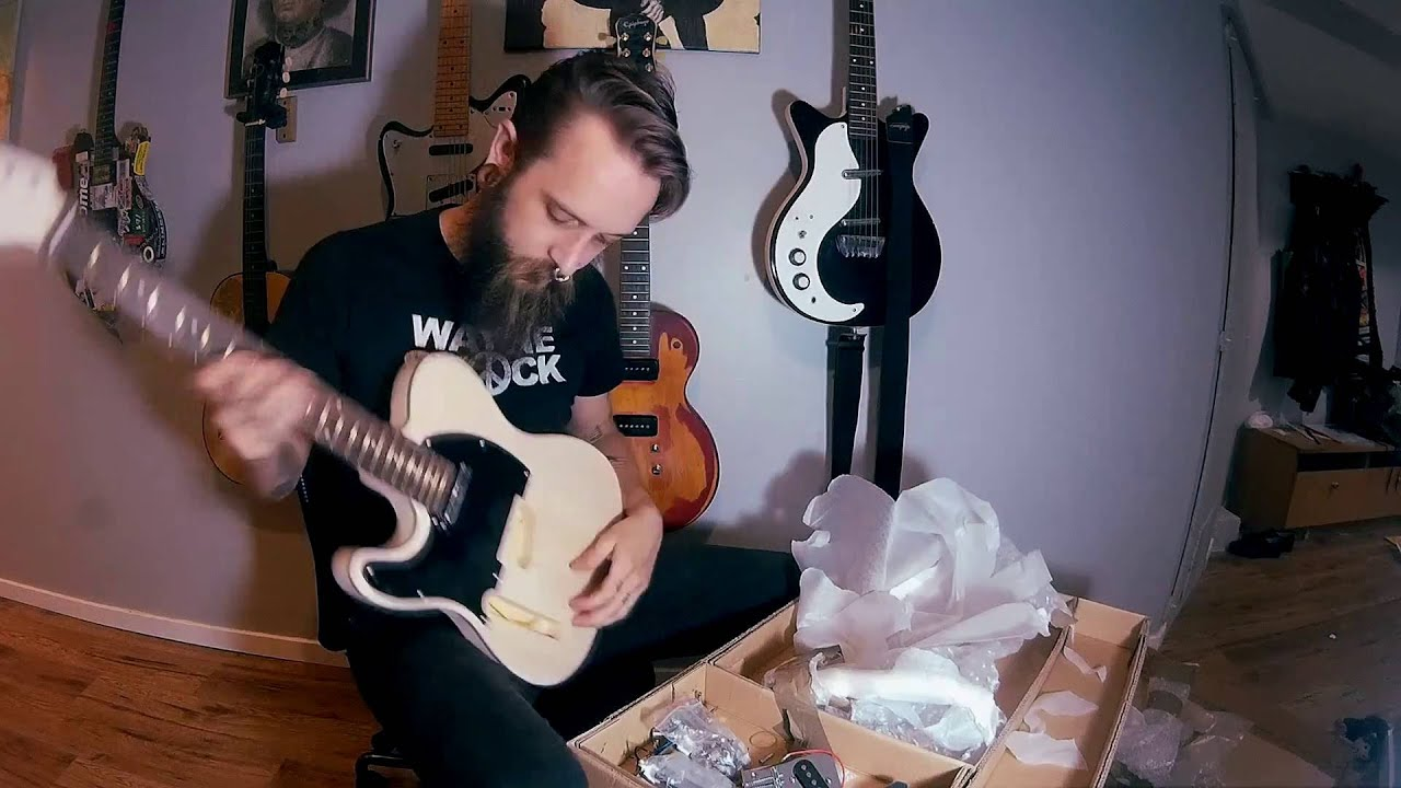 left handed telecaster style diy project luthier electric guitar kit unboxing review painting. Black Bedroom Furniture Sets. Home Design Ideas