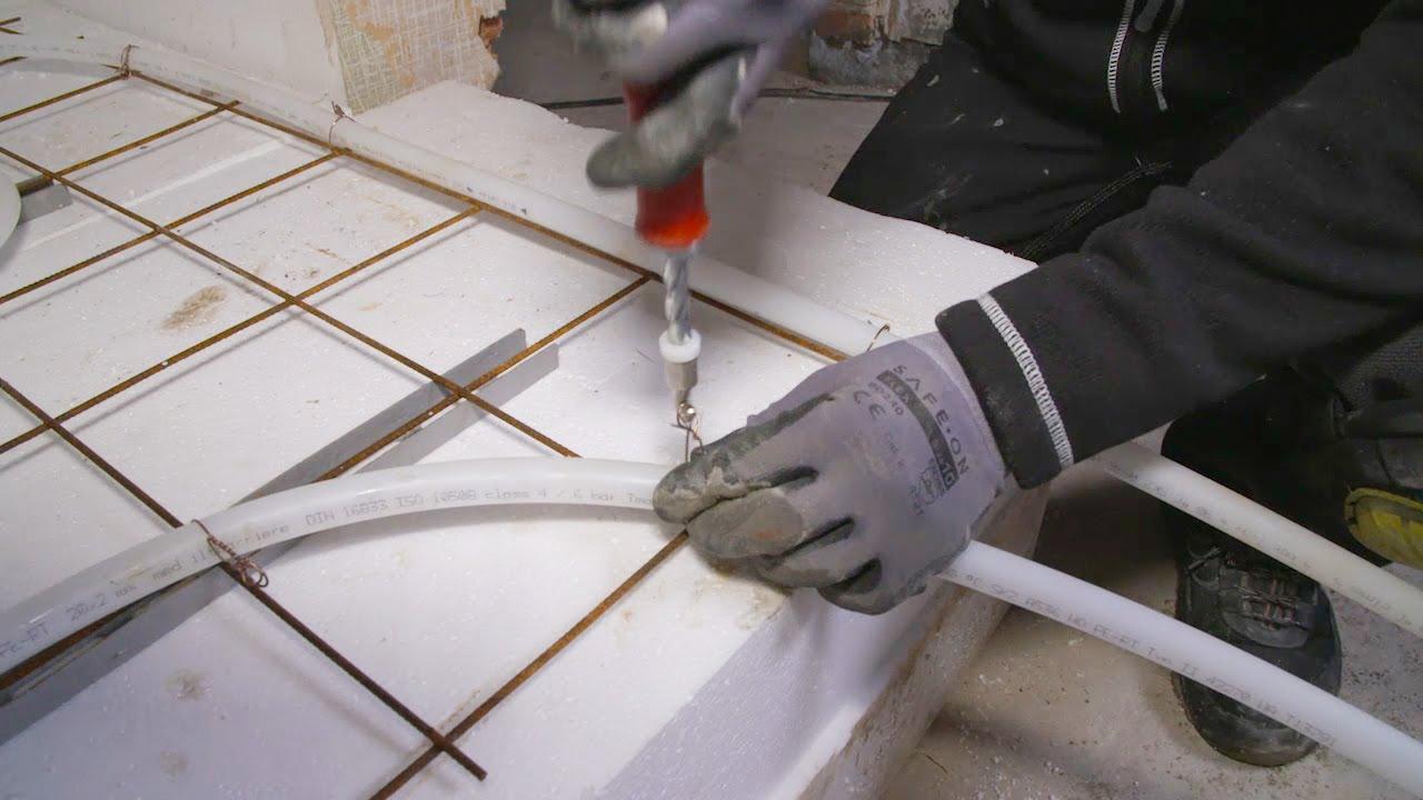 montering af gulvvarme i beton