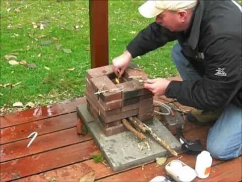 Building a brick rocket stove youtube for Brick jet stove