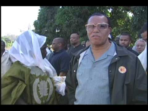 Minister Farrakhan in Jufre, Africa where Kunta Kinte was born. Monument to Alex Haley