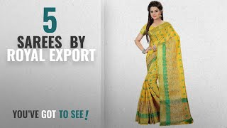 Top 10 Royal Export Sarees [2018]: Royal Export Women's Yellow Chanderi Silk Saree (Yellow)