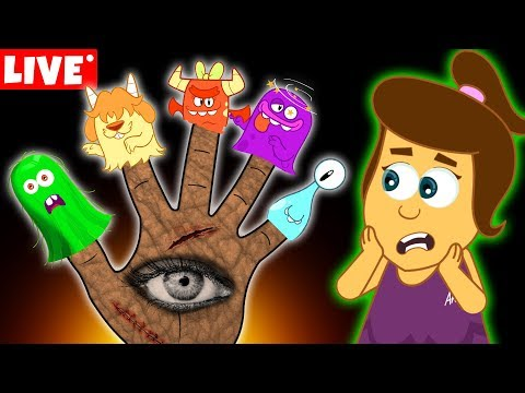 The Five Spooky Monster Finger Family   Halloween Songs for Kids by Annie and Ben   LIVE 🔴