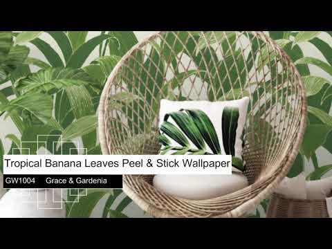 Tropical Banana Leaves Peel Stick Wallpaper Green By Grace Gardenia
