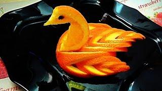 Птица из апельсина! Bird of orange! Украшения из фруктов! Decoration of fruit!